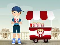 Ребенок ест попкорн иллюстрация вектора