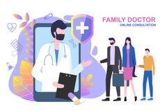 Ребенок женщины человека семейного врача онлайн консультации иллюстрация вектора