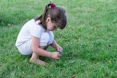 Ребенок играя на траве Стоковые Изображения