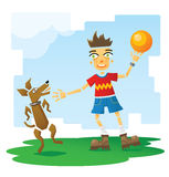 Ребенок играя с собакой Стоковое фото RF