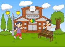 Ребенок играя шарик на иллюстрации вектора шаржа школы Стоковые Изображения RF