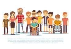 Ребенок-инвалид, ребеята с ограниченными возможностями, разнообразные студенты в комплекте вектора кресло-коляскы иллюстрация вектора
