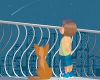 Ребенок и кот Стоковые Фотографии RF