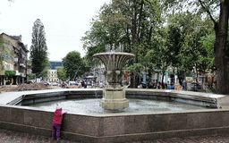 Ребенок и фонтан Стоковые Фото