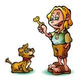 Ребенок и doggie Иллюстрация штока