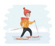 Ребенок катаясь на лыжах вниз Стоковые Фото