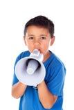 Ребенок крича через мегафон Стоковая Фотография