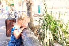 Ребенок, маленькая девушка малыша смотря на животных и птицы через деревянное обнести зоопарк В всеединстве с природой Recr семьи Стоковая Фотография RF
