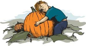 ребенок мальчика его призовая тыква бесплатная иллюстрация