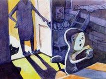 Ребенок на иллюстрации мобильного телефона Стоковая Фотография