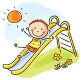 Ребенок на спортивной площадке иллюстрация вектора