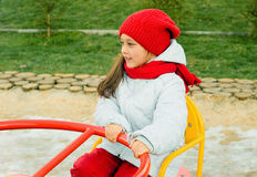 Ребенок на carousel Стоковое Фото
