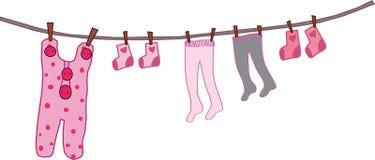 ребенок одевает веревочку s иллюстрация штока