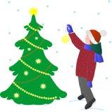 Ребенок открытки в одеждах зимы украшает рождественскую елку на белой предпосылке, векторе иллюстрация штока