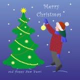 Ребенок открытки в одеждах зимы украшает рождественскую елку на пурпурной предпосылке, векторе иллюстрация штока