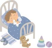 Ребенок отдыхая на ноче бесплатная иллюстрация