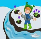 Ребенок позволил шлюпке в The Creek иллюстрация штока