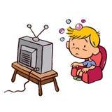 Ребенок пристрастившийся к телевидению Стоковая Фотография