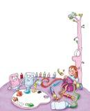 Ребенок раскрывает комод с зубоврачебными цветами Стоковая Фотография