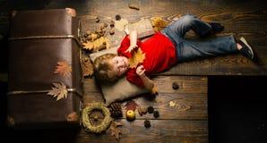 Ребенок рекламирует ваш продукт и услуга белизна осени изолированная принципиальной схемой Белокурый мальчик отдыхая с лист на жи стоковые изображения rf