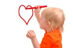 ребенок рисует красный цвет карандаша сердца Стоковая Фотография