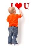 ребенок рисует красный цвет карандаша Стоковые Фото