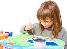 ребенок рисует стоковая фотография