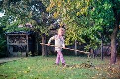 Ребенок сгребая упаденные листья стоковое изображение rf