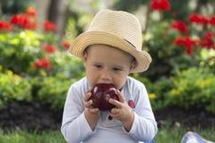 Ребенок сидя на траве в саде на красивый весенний день стоковые фото