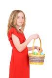 Ребенок с корзиной пасхи стоковое изображение rf