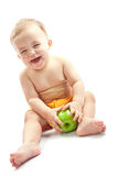 ребенок яблока счастливый стоковая фотография
