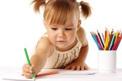 ребенок crayons милая притяжка Стоковые Изображения RF
