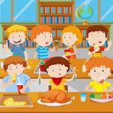 Ребеята школьного возраста имея обед в буфете иллюстрация вектора