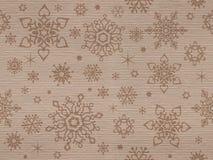 Ребристый kraft текстурировал безшовную картину с снежинками рождества Стоковое Изображение RF
