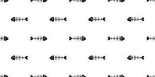 Ребро акулы вектора картины косточки рыб безшовное изолировало предпосылку обоев иллюстрация вектора