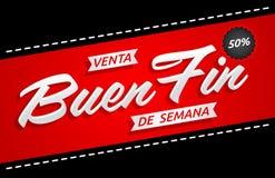 Ребро de semana Venta Buen, текст хорошей распродажи на выходных испанский, выдвиженческое знамя бесплатная иллюстрация