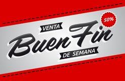 Ребро de semana Venta Buen, текст хорошей распродажи на выходных испанский, выдвиженческий шаблон знамени иллюстрация штока