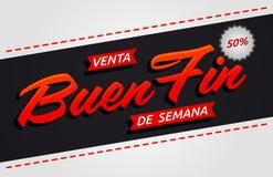 Ребро de semana Venta Buen, текст хорошей распродажи на выходных испанский иллюстрация вектора