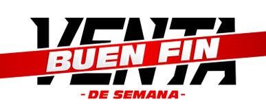 Ребро Venta Buen, текст хорошей распродажи на выходных испанский, знамя вектора выдвиженческое иллюстрация вектора
