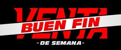 Ребро Venta Buen, текст хорошей распродажи на выходных испанский иллюстрация штока