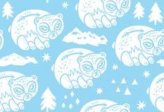 Ребяческая безшовная картина с белыми полярным медведем, горой, деревом и треугольниками Предпосылка вектора в скандинавском стил иллюстрация штока