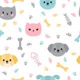 Ребяческая безшовная картина с милыми маленькими щенятами и котятами Ультрамодная предпосылка с собаками и кошками шаржа Украшени иллюстрация штока
