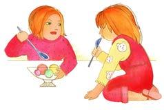 Ребяческая жадность, 2 девушки есть мороженое иллюстрация штока