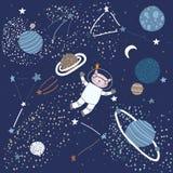 Ребяческая картина с котом в элементах космоса иллюстрация вектора