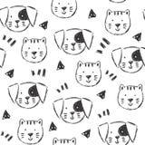 Ребяческая картина с собаками и кошками нарисованными рукой бесплатная иллюстрация