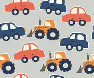Ребяческая картина seamles с автомобилями и тракторами также вектор иллюстрации притяжки corel иллюстрация штока