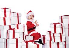 Ребёнок в costume Santa Claus Стоковая Фотография RF