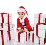 Ребёнок в costume Santa Claus Стоковые Фотографии RF