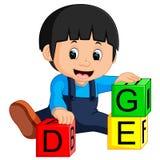 Ребёнок и шарж блоков алфавита иллюстрация вектора