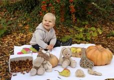 Ребёнок 1 лет старый, представляющ с тыквой и игрушками среди деревьев i Стоковое фото RF